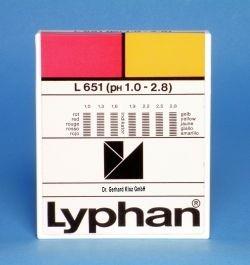 L651 LYPHAN Streifen pH 1,0 bis 2,8